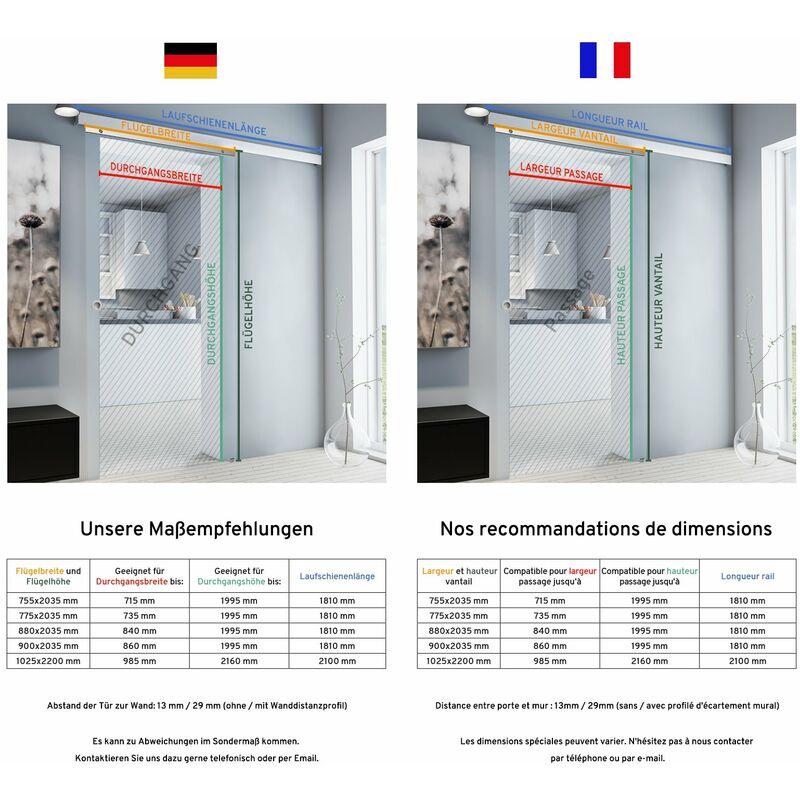 Tür Schiebetür Glas individueller Schriftzug 755x2035 Zimmertür  Glasschiebetür