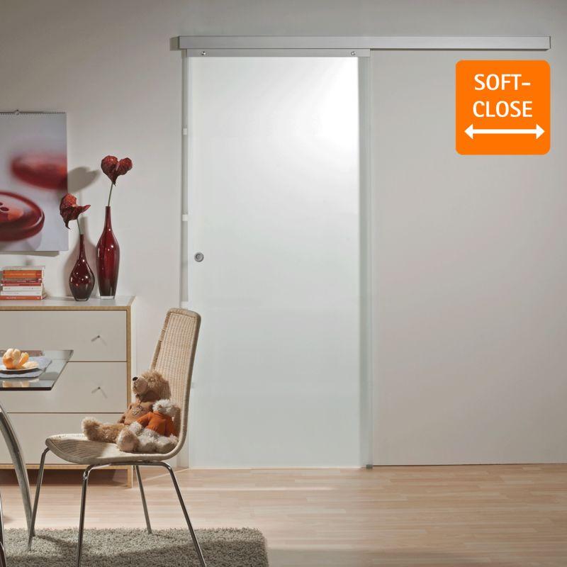 Tür Schiebetür Glas satiniert 900 x 2035 Zimmertür Glasschiebetür Glastür