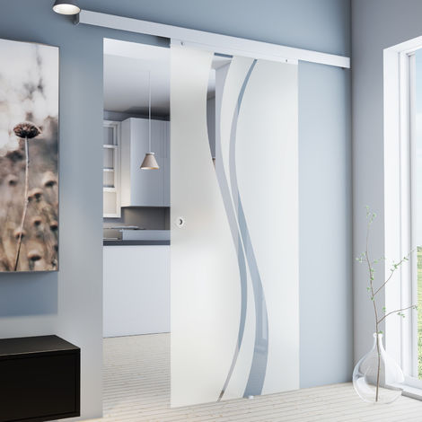 Hervorragend Tür Schiebetür Glas wellenförmig 880x2035 Zimmertür Glasschiebetür IT11