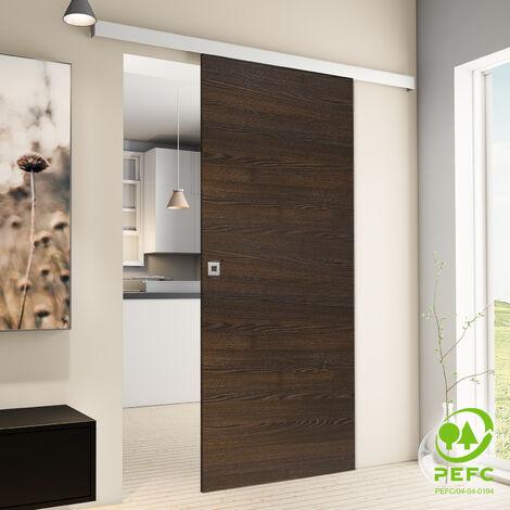 Tür Schiebetür Holz braun 880x2035 Zimmertür Holztür Schiebetürsystem
