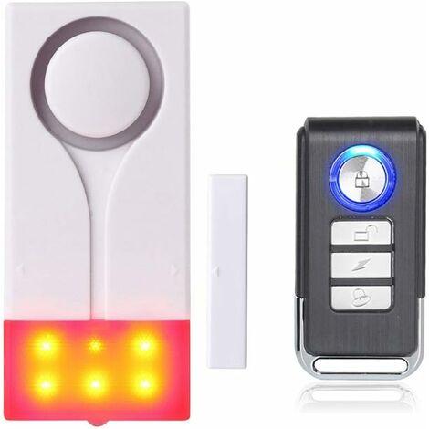 Tür- Und Fensteralarm - Funkalarm Mit 105 db Lautem Ton Und Hellem Licht, (1 Alarm Und 1 Fernbedienung)