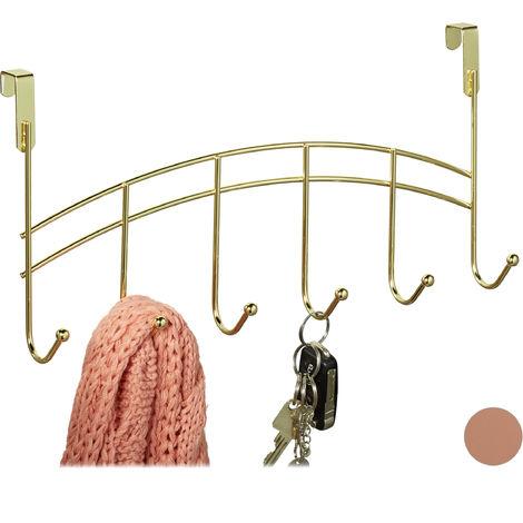 Türgarderobe, 6 Haken, zum Einhängen, Metall, Türhakenleiste Flur, Schlafzimmer, Bad, HBT 20x40x9 cm, gold