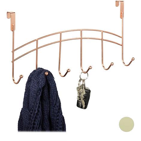 Türgarderobe, 6 Haken, zum Einhängen, Metall, Türhakenleiste Flur, Schlafzimmer, Bad, HBT 20x40x9 cm, kupfer