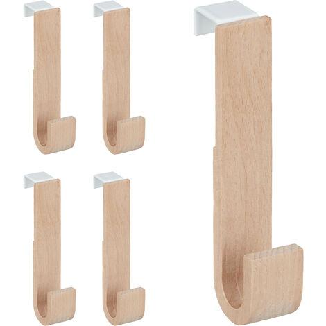Türhaken im 5er Set, Holz & Eisen, Jacken, Handtücher, Kleiderhaken Flur, HxBxT: 13 x 2,5 x 6 cm, weiß/natur