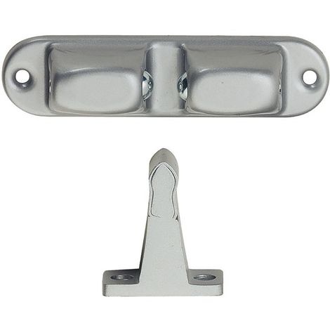 Türhalter mit verstellbarer Druckkugel, Wandabstand 70 mm,Alu/Stahl silber lack.