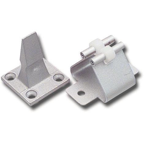 Türhalter mitFederhalter, Wandabstand 45 mm, Aluminium silber eloxiert