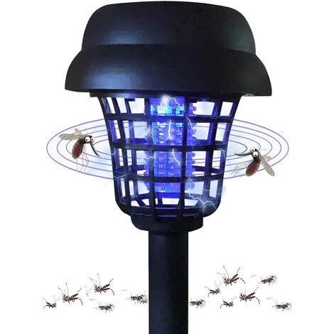 Tueur De Moustiques Solaire Insecticide Blanc Lumiere Violet Lampe De Pelouse Exterieure Led Lampe Anti-Moustique Electronique