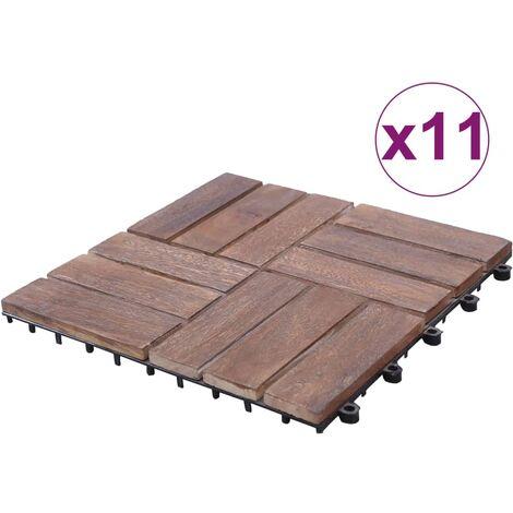 Tuiles de terrasse 11 pcs 30x30 cm Bois de récupération solide