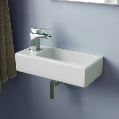 """main image of """"Tulla 375 x 185mm Small Cloakroom Rectangle Wall Hung Basin Sink and Fittings"""""""