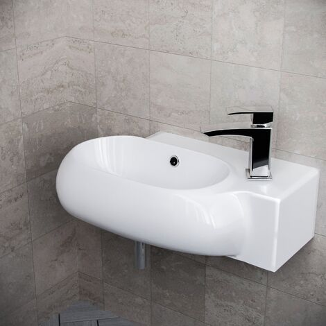 Tulla 380 x 185mm Rounded Cloakroom Counter Top Basin Sink