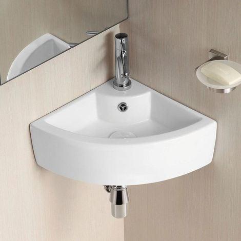 Tulla 450 x 325mm Cloakroom Small Quarter Circle Corner Wall Hung Basin Sink