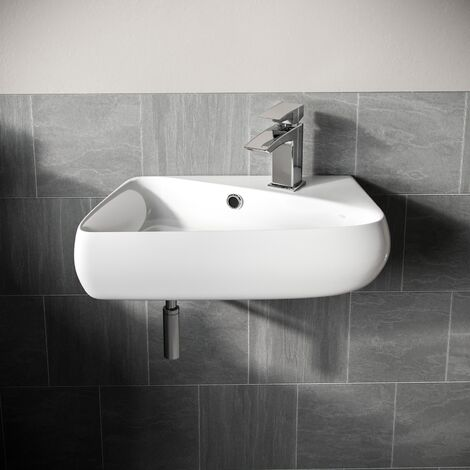 """main image of """"Tulla 455 x 275mm Rectangle Cloakroom Wall Hung Basin Sink"""""""