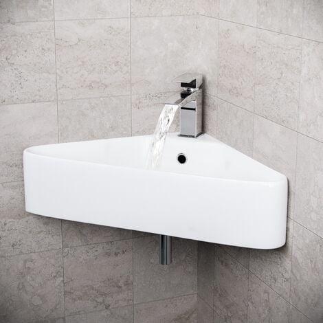 Tulla 575 x 430mm Triangle Corner Wall Hung Basin Sink