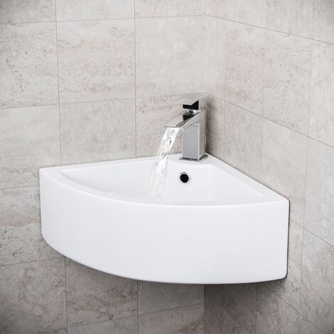 Tulla Cloakroom Large Quarter Circle Corner Wall Hung Basin Sink