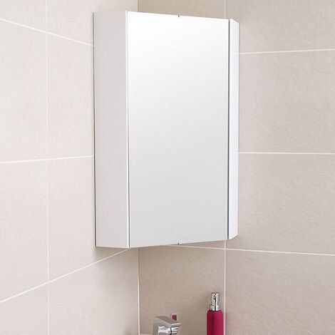 Tully 320 x 320 x 650mm Corner Mirror Cabinet Gloss White