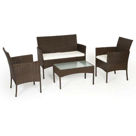 TULUM - Set of Garden Furniture in Resin - Brown Beige