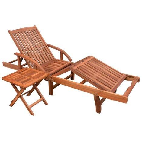 Tumbona ajustable con mesita madera maciza de acacia - Marrón