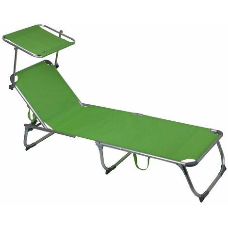 Tumbona aluminio plegable cubierta jardín silla de playa muebles de exterior textil móvil verde acero Harms 504665