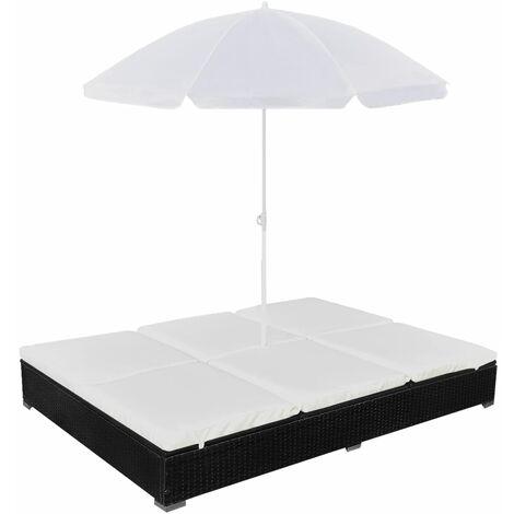 Tumbona cama con sombrilla ratán sintético negra - Negro