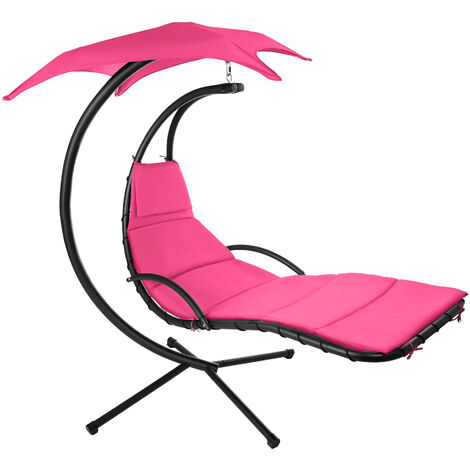 Tumbona colgante Kasia - tumbona colgante para jardín, tumbona tipo hamaca con toldo de poliéster, silla colgante con estructura de acero