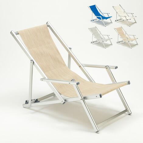 Tumbona con Reposabrazos Aluminio Piscina Playa Riccione Lux