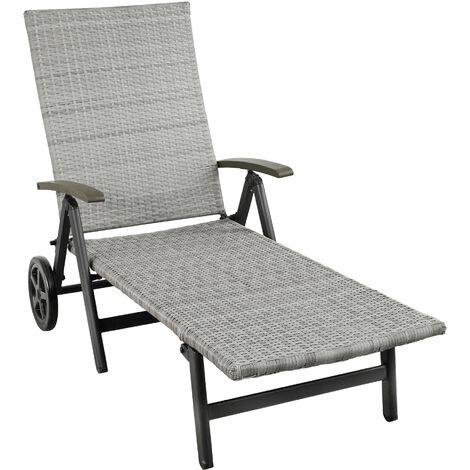 Tumbona con reposabrazos Auckland - tumbona de poliratán para jardín, mueble de ratán sintético con trenzado, asientos de jardín con estructura de aluminio