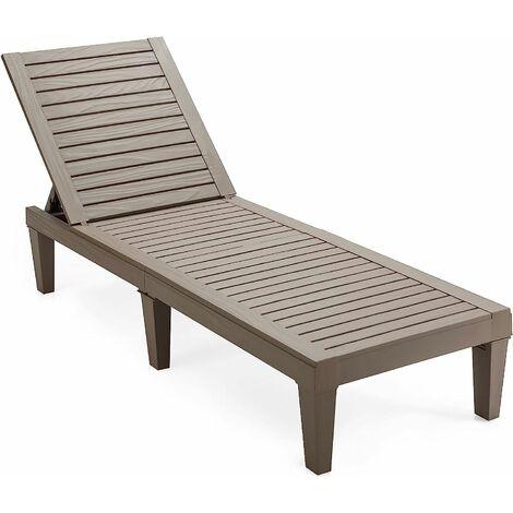 Tumbona de Jardín con Respaldo Ajustable de 5 Posiciones Tumbona de Relax de PP Silla Reclinable para Playa Patio Terraza Piscina (Marrón)
