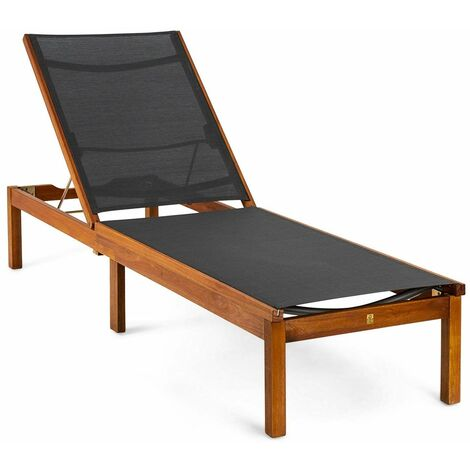 Tumbona de jardín de madera de eucalipto FSC, acero y textil - 50021001168556