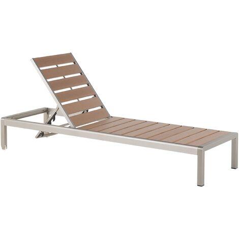 """main image of """"Tumbona de jardín – Aluminio y madera sintética – Marrón - NARDO"""""""