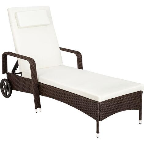 Tumbona de ratán - tumbona de poliratán para jardín, muebles de ratán sintético con cojines y fundas, asientos de jardín con estructura metálica