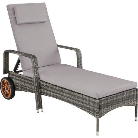 Tumbona de ratán y aluminio Biarritz - tumbona de poliratán para jardín, muebles de ratán sintético con cojines y fundas, asientos de jardín con estructura de aluminio