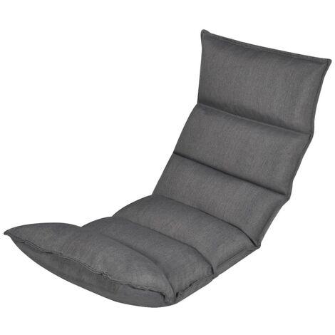 Tumbona de suelo plegable de tela gris