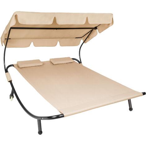 Tumbona doble - hamaca para dos personas, mueble de jardín exterior con ruedas, asiento de terraza impermeable - beige