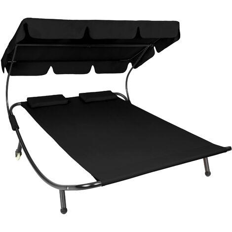 Tumbona doble - hamaca para dos personas, mueble de jardín exterior con ruedas, asiento de terraza impermeable