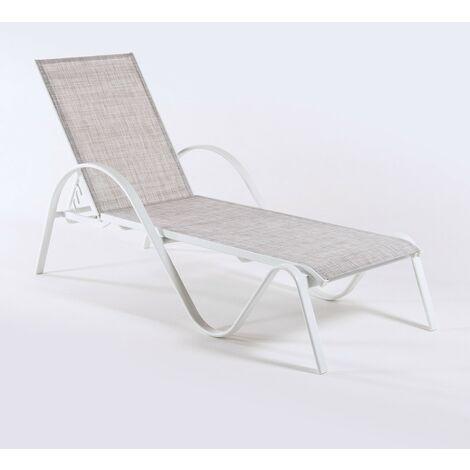 Tumbona jardín reclinable y apilable | Tamaño: 203x64x33 cm | Aluminio blanco y textilene color taupé jaspeado