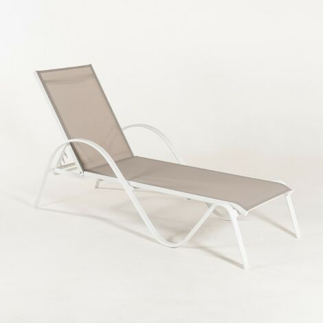 Tumbona jardín reclinable y apilable, Tamaño: 203x64x33 cm, Aluminio blanco y textilene liso color gris