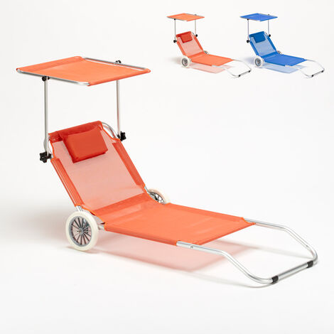 Tumbona playa aluminio ruedas hamaca silla toldo plegable Banana