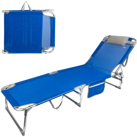 Tumbona plegable aluminio con reposacabezas y bolsillo Aktive Beach