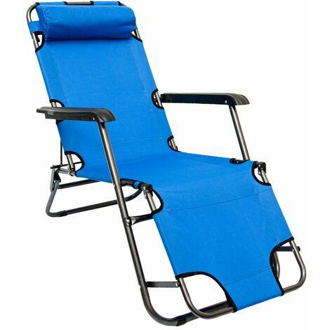 Tumbona Plegable | Cómoda Silla de Playa 153 cm + Reposacabezas + Reposapiernas + Respaldo Reclinable | Azul Claro