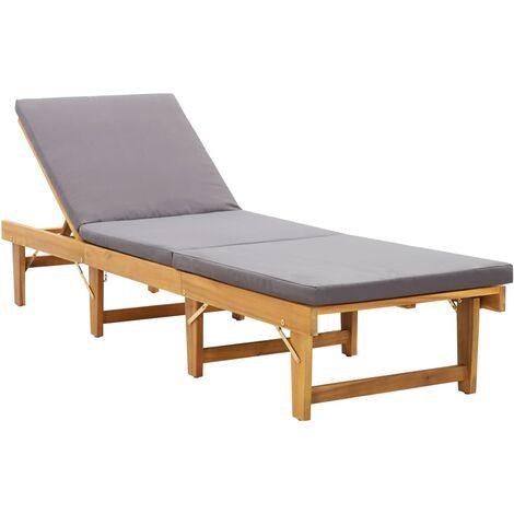 Tumbona plegable con cojín madera maciza de acacia - Marrón