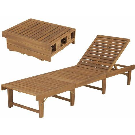 Tumbona plegable de madera maciza de acacia - Marrón