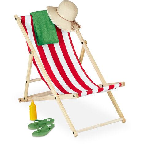 Tumbona, Plegable, Madera, Hamaca Reclinable Colorida para Balcón, Jardín, Playa, 83x58x94 cm, Blanco y Rojo