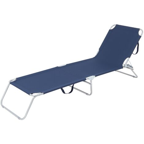 Tumbona reclinable 200x56cm hamaca plegable azul aluminio sol playa piscina