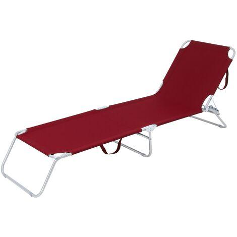 Tumbona reclinable 200x56cm hamaca plegable bordeaux aluminio sol playa piscina