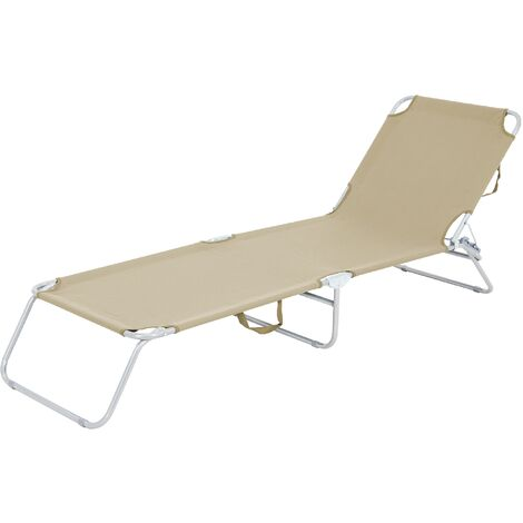 Tumbona reclinable 200x56cm hamaca plegable crema aluminio sol playa piscina
