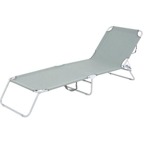 Tumbona reclinable 200x56cm hamaca plegable gris aluminio sol playa piscina