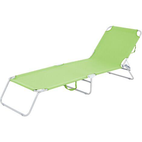 Tumbona reclinable 200x56cm hamaca plegable verde aluminio sol playa piscina