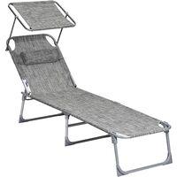 Tumbona reclinable Silla para Playa Piscina jardín Plegable 193 x 63 x 32cm Carga Máx.de 250kg Gris Metalizado/Gris Ahumado