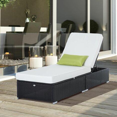 Tumbona tipo silla reclinable y almohada para exterior color negro crema