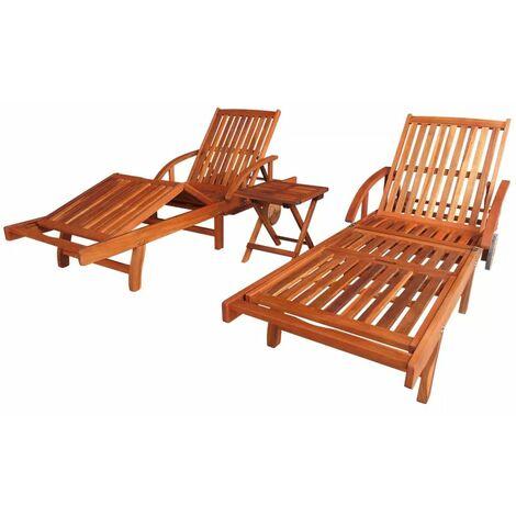 Tumbonas 2 unidades y mesita madera maciza de acacia